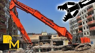HITACHI ZAXIS 670 LONG BOOM EXCAVATOR DEMOLISHING BUILDING
