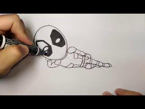 สอนวาดรูป การ์ตูน เดธพูล Deadpool ท่านอน จาก เดธพูล Deadpool วาดการ์ตูน กันเถอะ