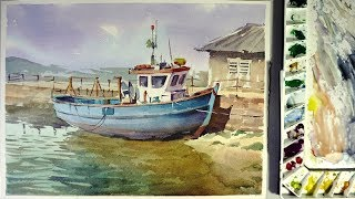 Watercolor Landscape Painting : A Boat Stuck On Shore