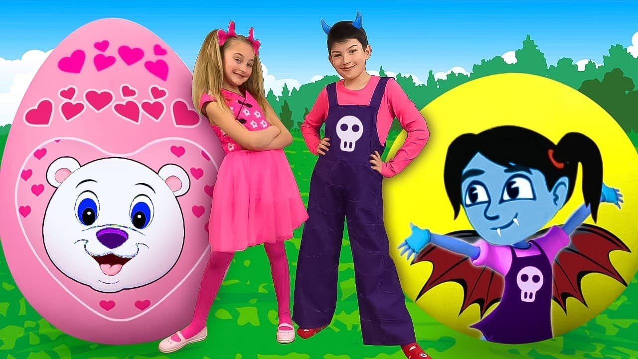 Download Sasha and Max play with Giant Surprise Eggs & compete in Toys Challenge
