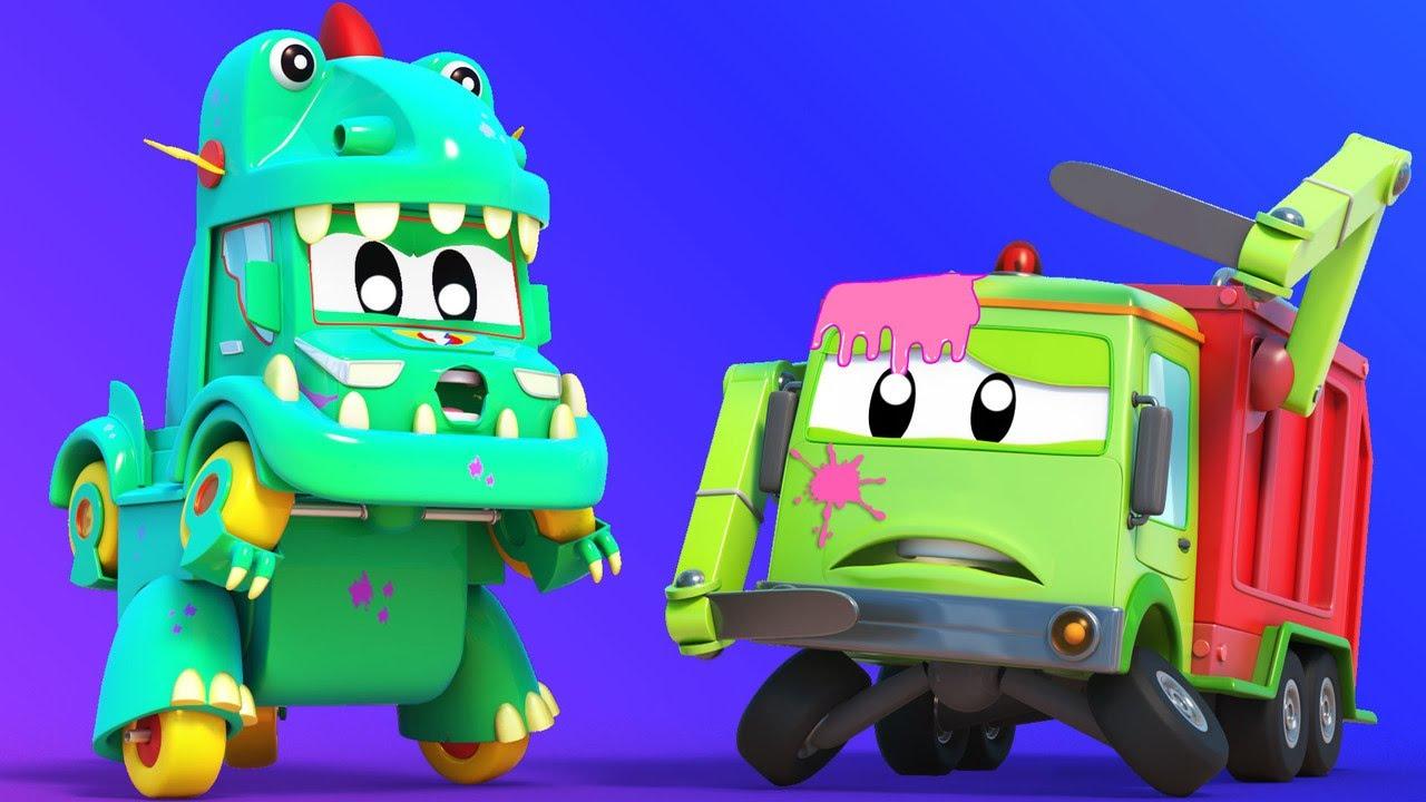 الشاحنة الخارقة !الشاحنة الخارقة تتحول إلى الديناصور الخارق مدينة السيارات - رسوم متحركة للأطفال