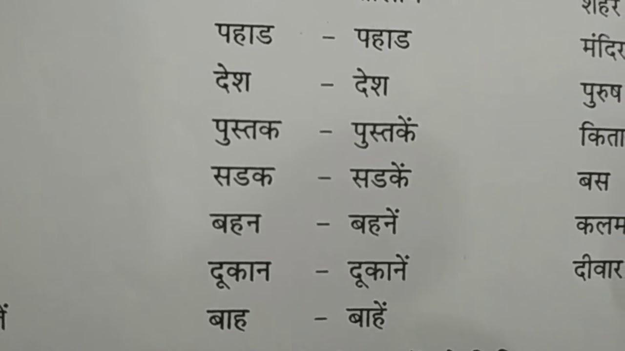 10th Class Hindi Grammar Study Lesson on Vachan
