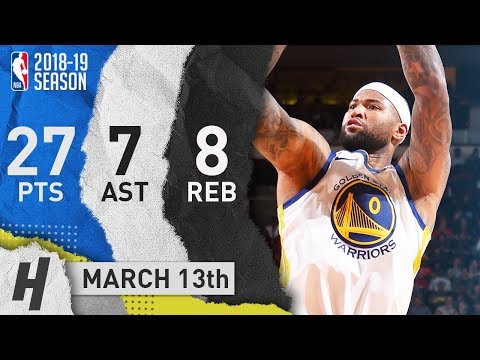 DeMarcus Cousins Full Highlights Warriors vs Rockets 2019.03.13 - 27 Pts, 7 Ast, 8 Reb!