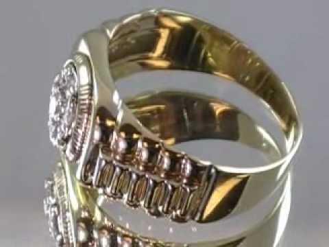 Rolex Style Mens Diamond Ring 14K Gold  Mens Diamond