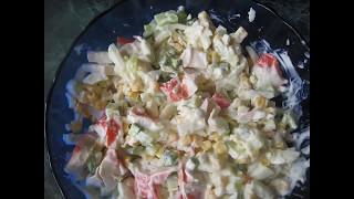 Салат Краб с кукурузой, крабовым мясом и свежим огурцом