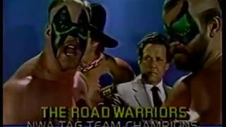 The Road Warriors w/Blackjack Mulligan vs. Kevin Sullivan, Bob Roop and The Purple Haze, 1986