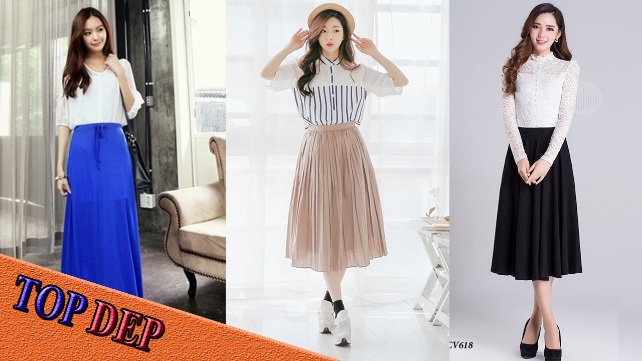 Top Mẫu chân váy dài nữ đẹp thời trang đang được các bạn trẻ yêu thích