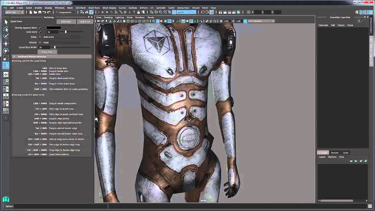 Quad Draw Tool - Maya Tutorial (Reptology for Beginners)