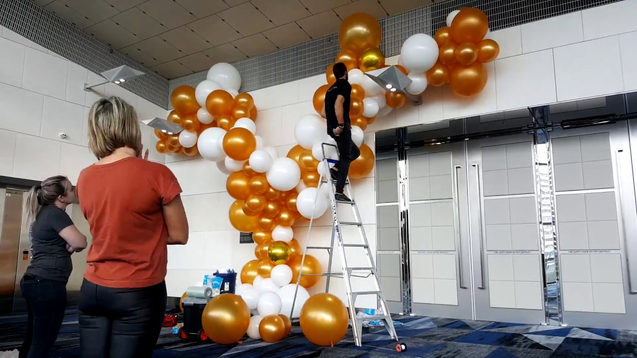Organic White And Gold Balloon Installation Youtube