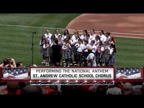 Saint Andrew Catholic School Chorus sings the National Anthem at the Phillies
