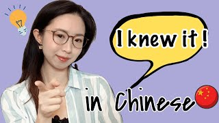 """How to say """"I Knew it !"""" in Chinese"""