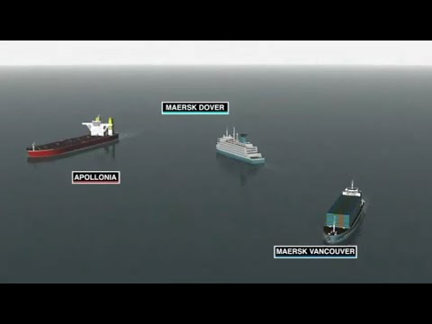 Collision Between Ferry, VLCC Tanker and Container Vessel