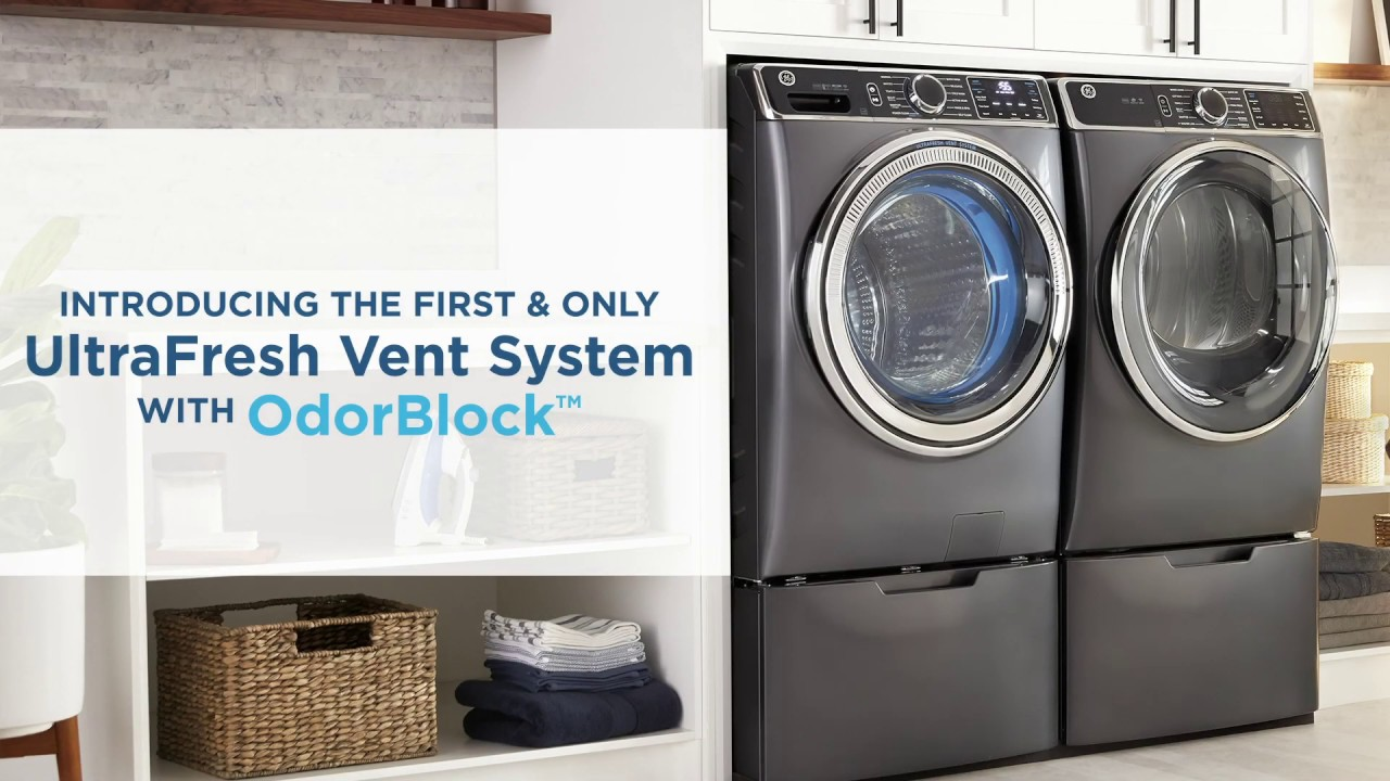 GE Appliances Front Load Washer featuring the UltraFresh Vent System with  OdorBlock™ - YouTube