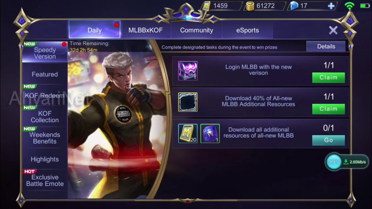 free hero and border on speedy version now! - mobile legends