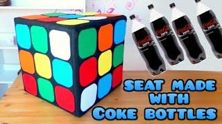 DIY Crafts: Rubik Cube seat with plastics Coke bottles, Coca Cola - handmade - Youtube - Isa ❤️