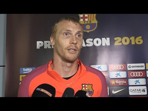 Interviews With Barcelona Players Sergi Roberto & Jeremy Mathieu At St George's Park