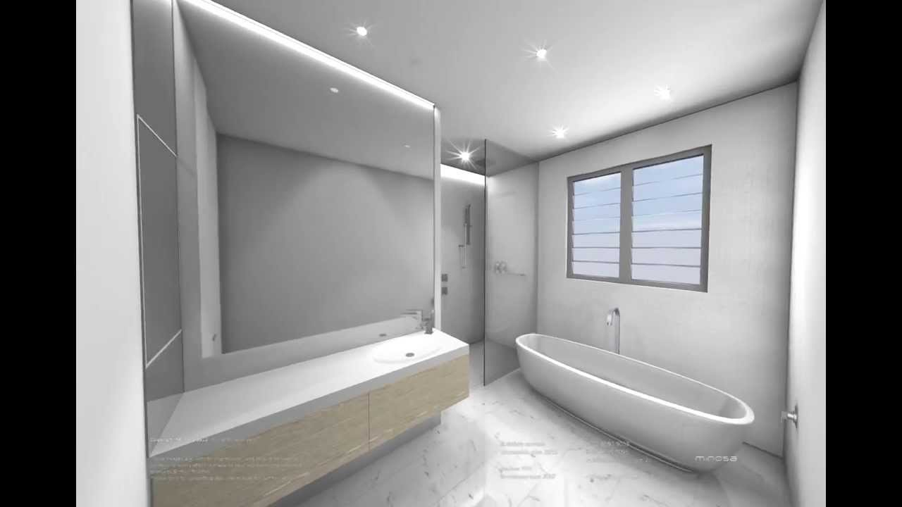 White Modern Bathroom Design   3D CAD Animation   YouTube