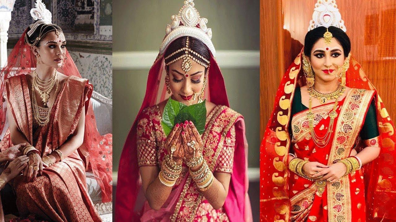 traditional bengali bridal makeup look ,hairstyle,saree,and jewelry ||bengali bridal look