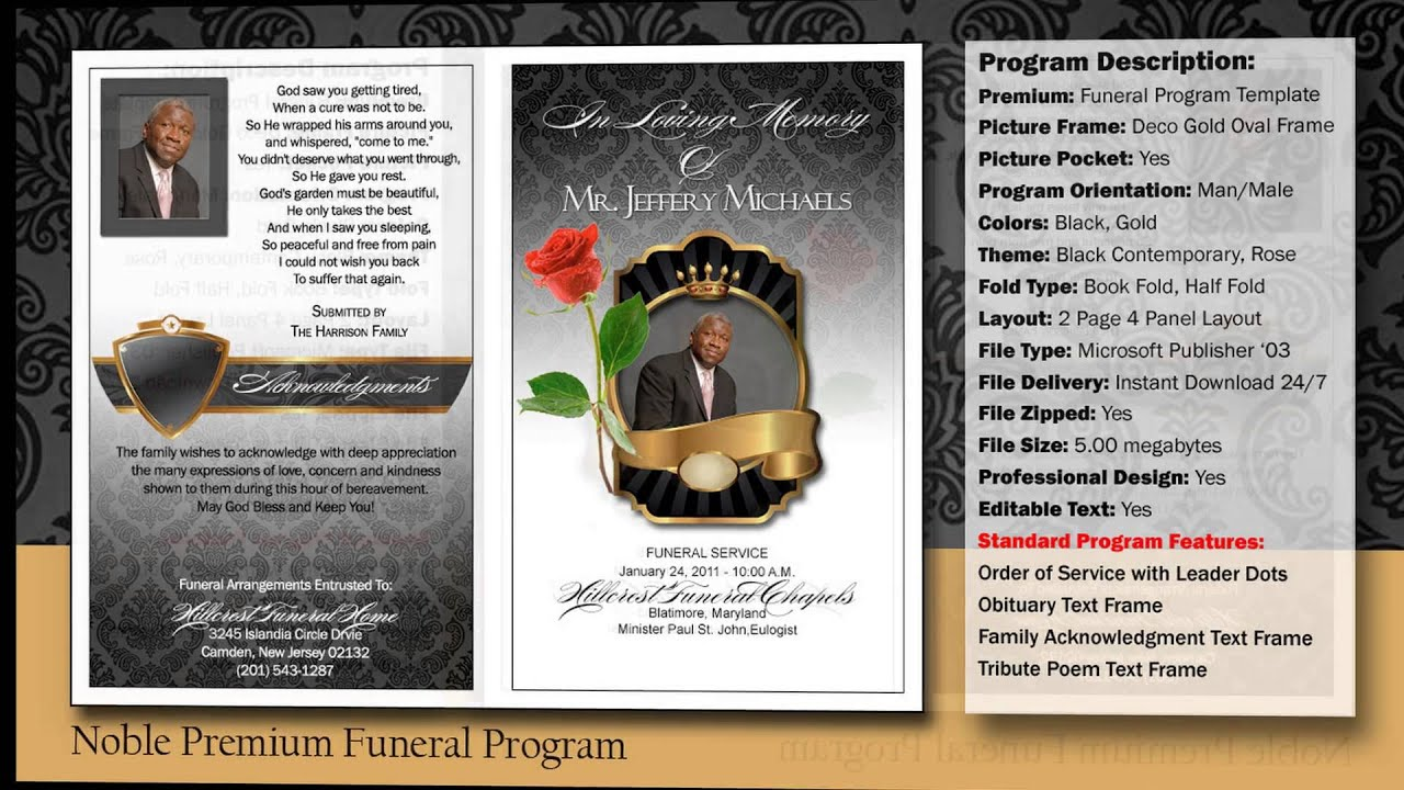 Noble Funeral Program Obituary   YouTube  Free Obituary Program Template