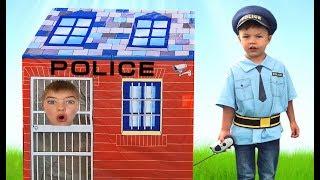 Richard and Dominika Pretend Play Police