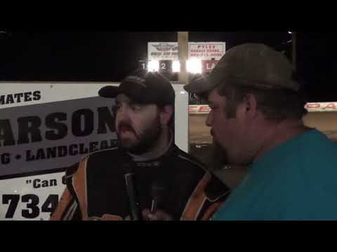 Dillan Stake in victory lane at Path Valley 4-20-18
