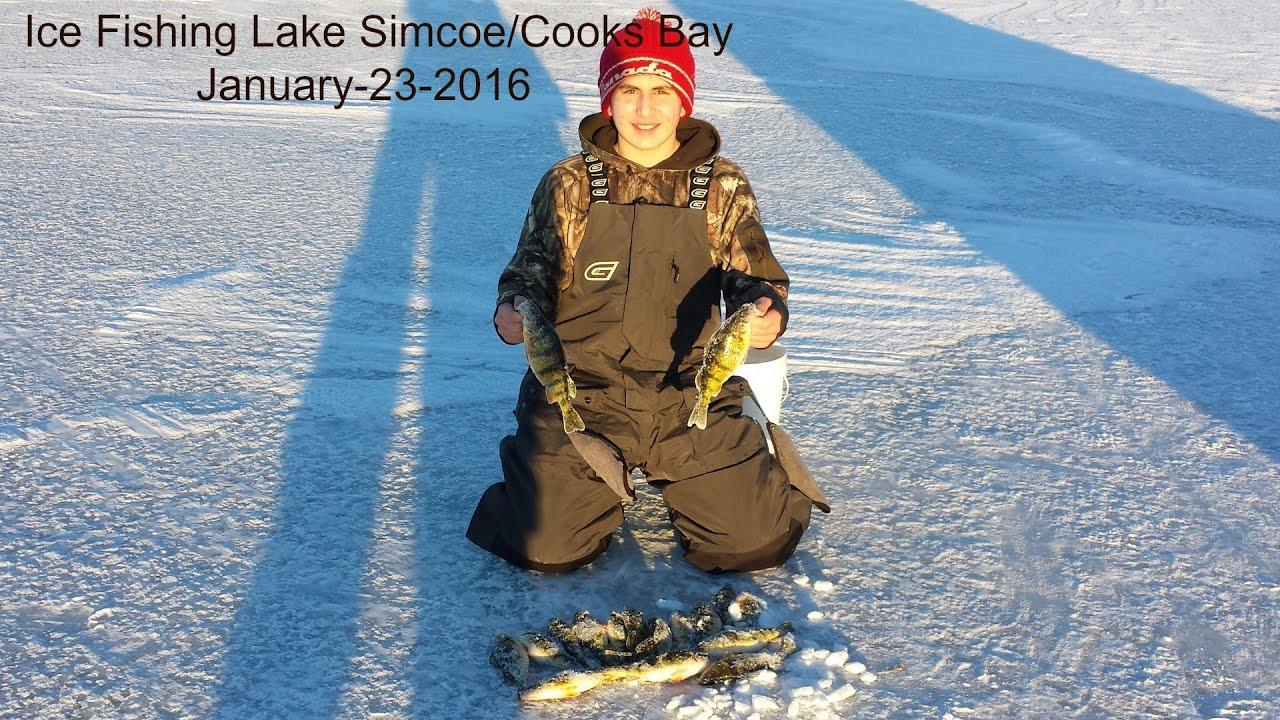 Ice fishing lake simcoe cooks bay january 23 2016 youtube for Lake simcoe fishing
