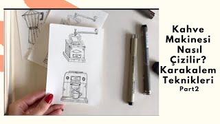 Kahve Makinesi çizmek (kahve malzemelerı) Part2