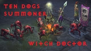 Diablo 3: RoS Beta - Ten Dogs Witch Doctor Summoner Build