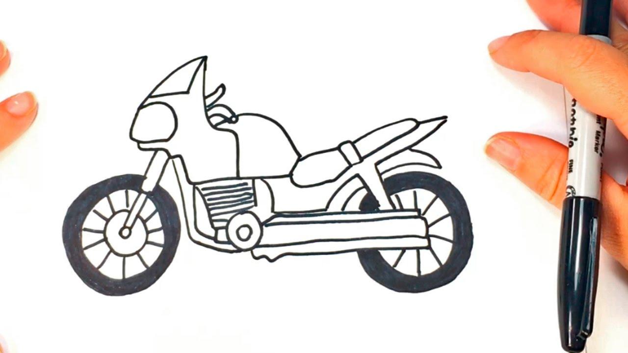 Cómo dibujar una Moto paso a paso | Dibujo fácil de Moto - YouTube
