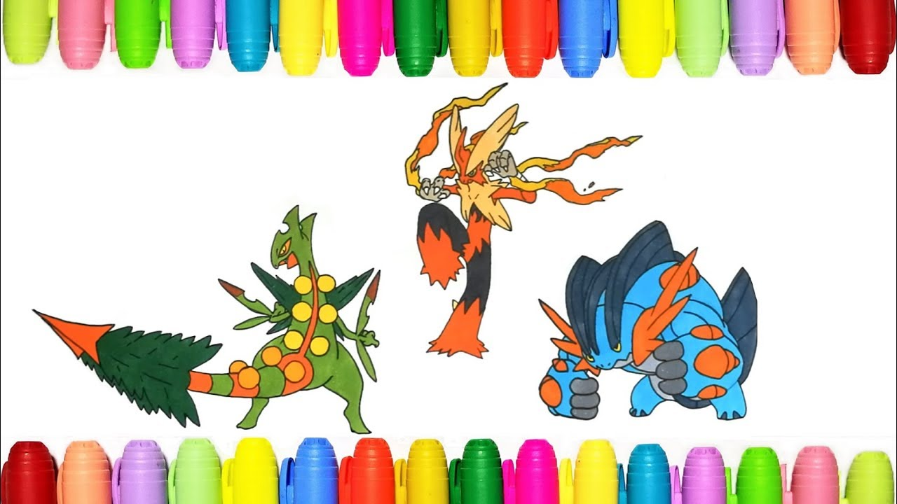 Pokemon coloring pages for kids Mega Sceptile Blaziken
