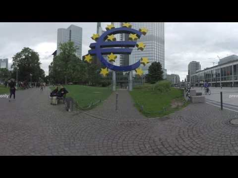 360 VR Frankfurt city view with Eurotower and Opera house, Germany