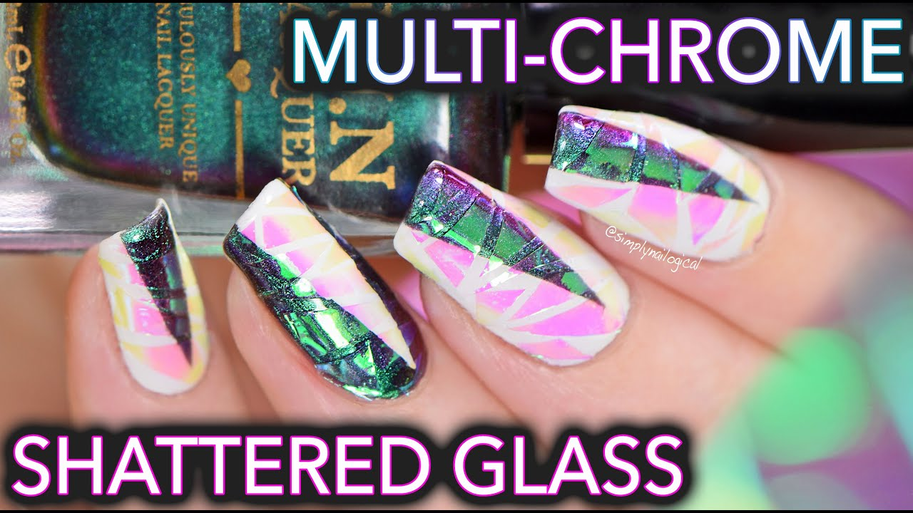 White Shattered Glass With MULTI CHROME Nails