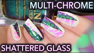 White shattered glass with MULTI-CHROME nails!
