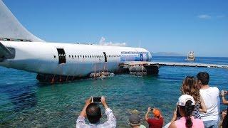 Aydın'da batırılması planlanan dev uçak suya indirildi thumbnail