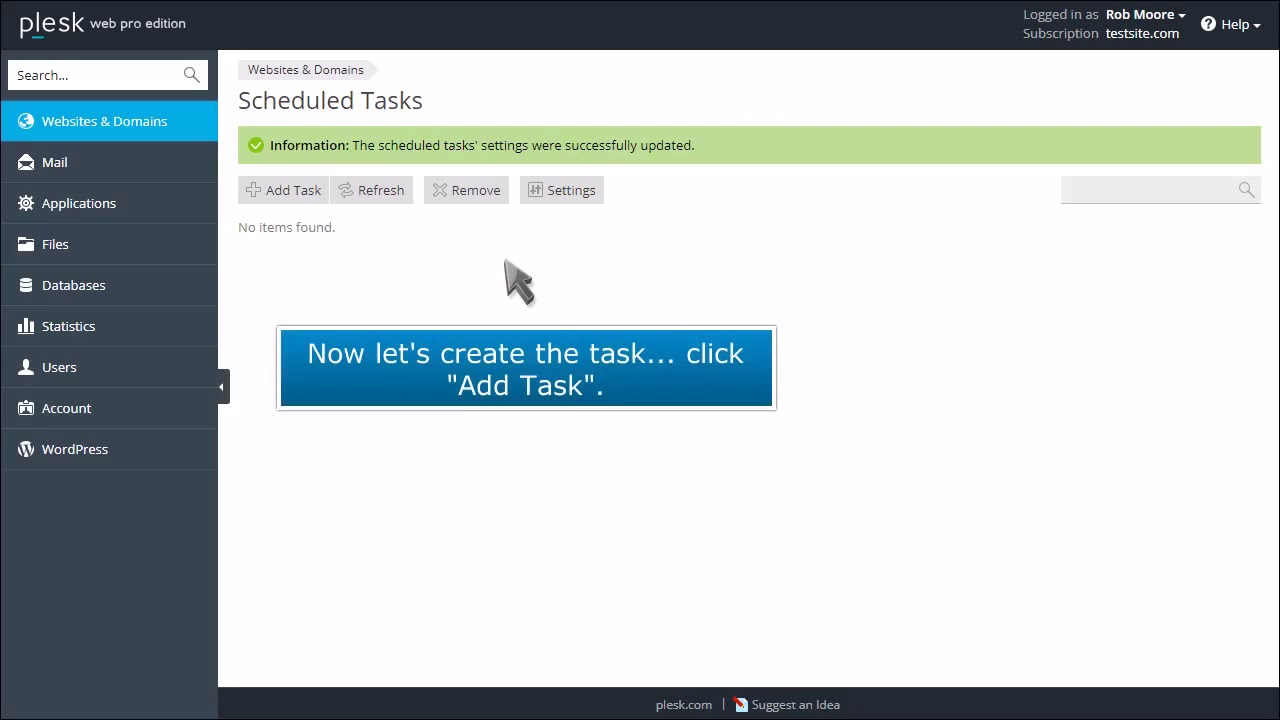 How to Schedule Tasks in Plesk