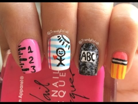 Back To School Nail Art | Four Different Designs! - Back To School Nail Art Four Different Designs! - YouTube