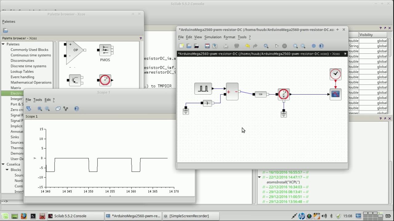 Arduino Mega2560 #37 : more pwm simulation using Scilab/Xcos