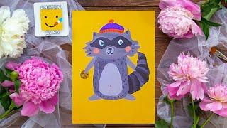 Как нарисовать енота - урок рисования для детей от 4 лет, рисуем дома поэтапно