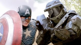 Repeat youtube video CAPTAIN AMERICA vs MASTER CHIEF - Super Power Beat Down (Episode 11)