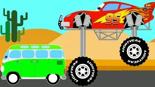 Color Lightning McQueen and Bus - Cars Cartoon for Kids and Superheroes for babies