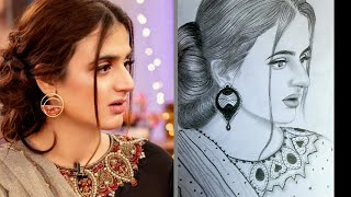 A girl drawing easy step by step Pencil Sketch Pakistani Actress Hira beautiful sketch