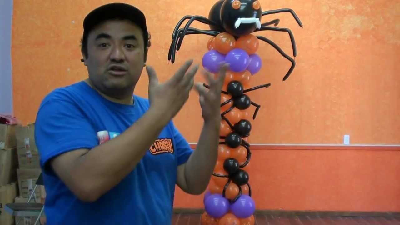 Columna ara as globos chasty decoracion halloween youtube - Decoracion de aranas ...