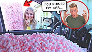 DESTROYING MY HUSBANDS CAR!! *HE FREAKE...