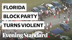 Moment a massive block party in Florida turns violent