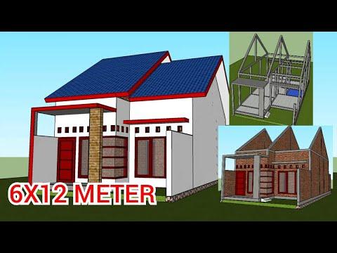 desain rumah 6x12 meter | minimalis house - youtube