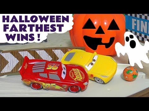 Halloween Spooky Farthest Wins Disney Pixar Cars with Hot Wheels Superheroes and McQueen