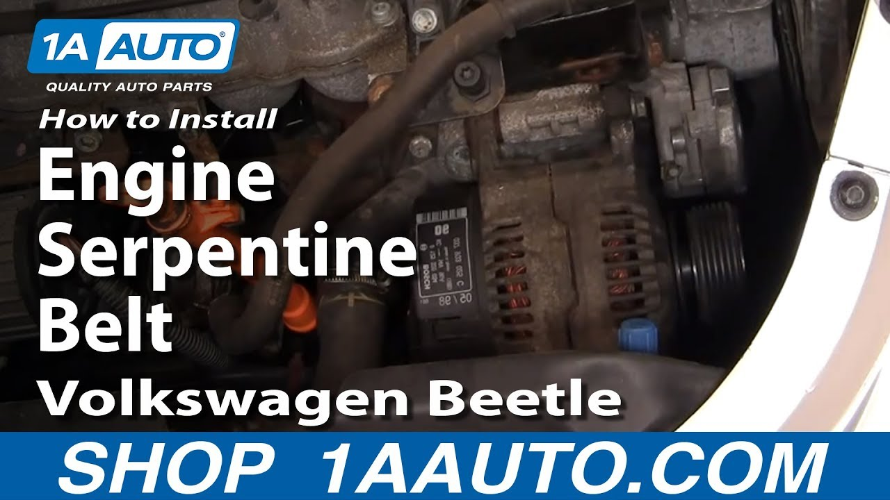 hight resolution of how to replace engine serpentine belt 98 05 volkswagen beetle