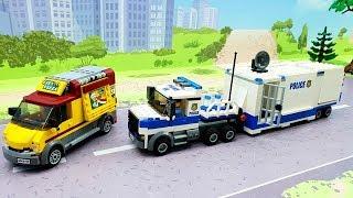 Поліцейська машина - Лего мультфільм для дітей - lego city police toy cars vehicle for kids.