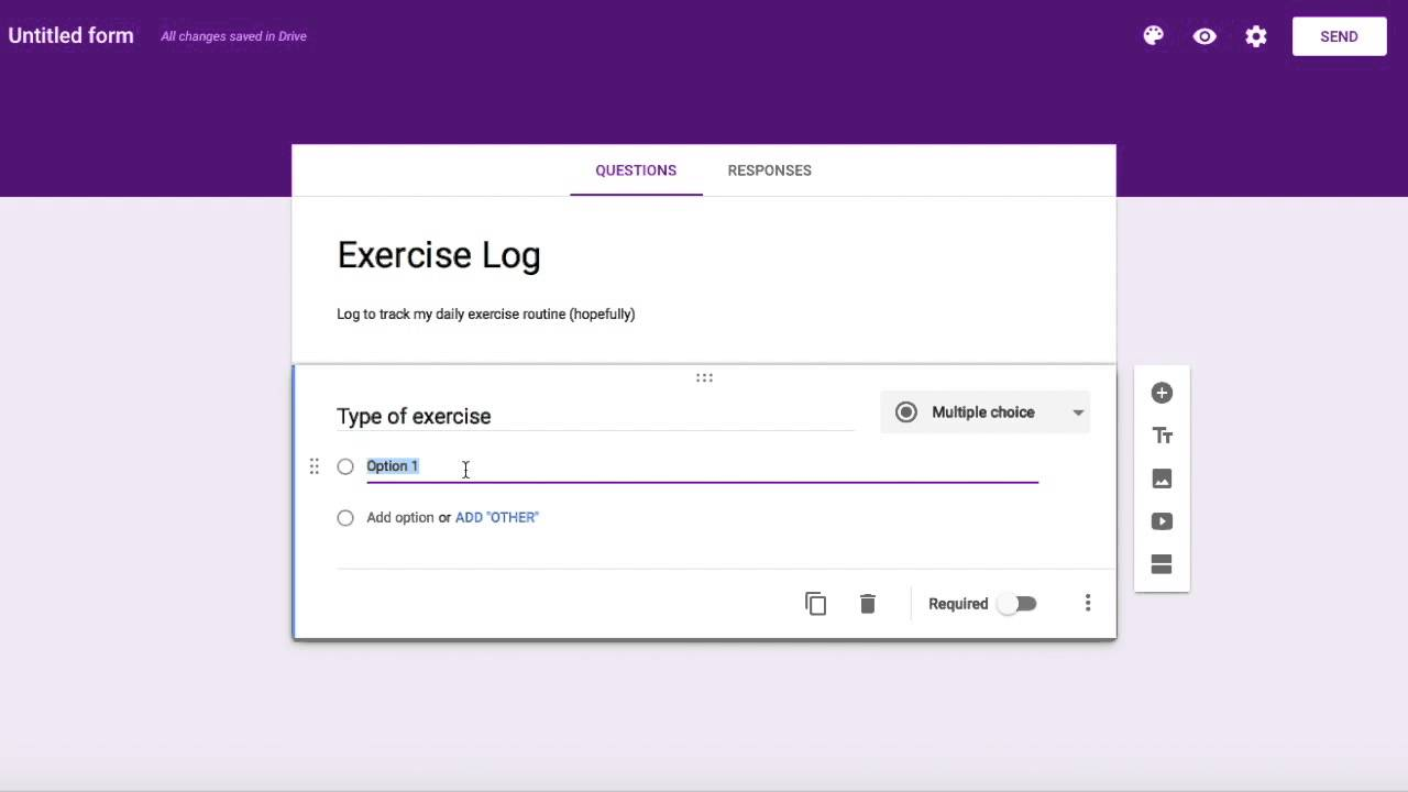use google forms to create a tracking log