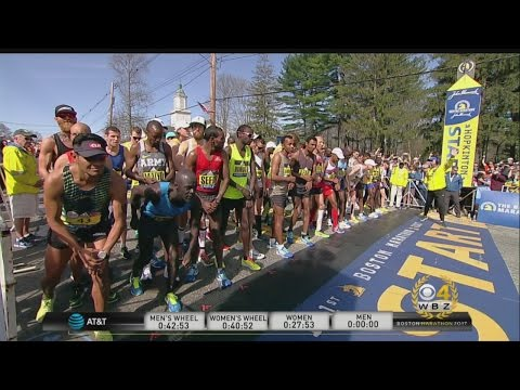 2017 Boston Marathon Elite Men's Race Start